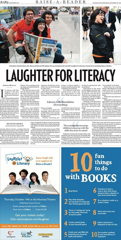 National Post Laughter for Literacy Raise-a-Reader Learning Enrichment Foundation Vong Show Headshot Gay Pride LGBT LGBTQ Queer Comedy Jokes Standup Asian Chinese Thai Laos Urban Canada Toronto Ontario Winnipeg Allyson June Smith Nile Seguin